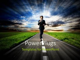 PowerPoint template displaying a person running late for the job with clouds in background