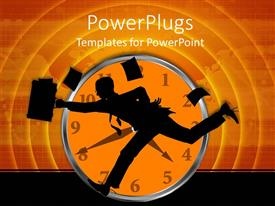 PowerPoint template displaying a person running as he is late for work