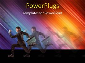 PowerPlugs: PowerPoint template with a person running in the pursuit with a colorful background and place for text