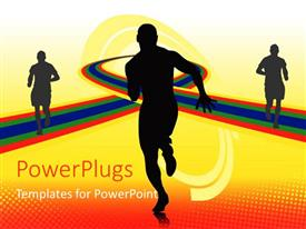 PowerPlugs: PowerPoint template with a person running with his shadows in the background