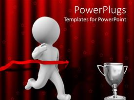 PowerPlugs: PowerPoint template with a person running towards the cup