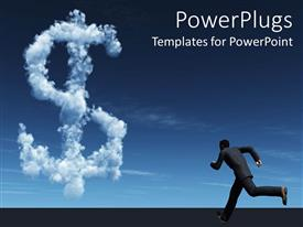 PowerPlugs: PowerPoint template with a person running towards the dollar sign