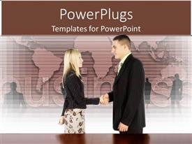 PowerPoint template displaying a person shaking hands with a girl in a professional way