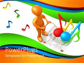 PowerPlugs: PowerPoint template with a person shopping music signs with multicolor background