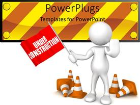 PowerPoint template displaying a person showing the flag of under construction