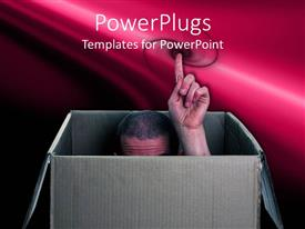 PowerPlugs: PowerPoint template with a person showing his index finger from the box