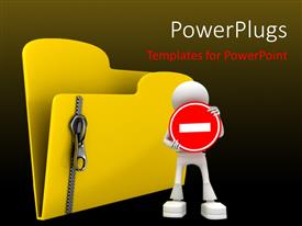 PowerPlugs: PowerPoint template with a person showing a minus sign with a file holder in background