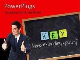 PowerPoint template displaying a person showing thumbs up with blackboard in the background