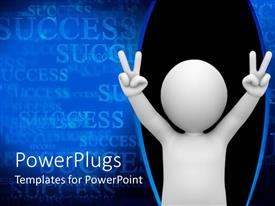 PowerPlugs: PowerPoint template with a person showing victory signatures along with success in the background