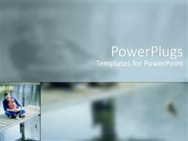 PowerPlugs: PowerPoint template with a person sitting with his child catching a fish