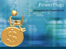 PowerPlugs: PowerPoint template with a person sitting on the dollar coin