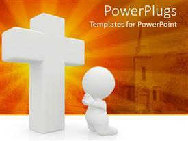 PowerPoint template displaying a person sitting in front of holy cross