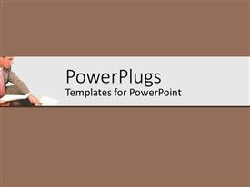 PowerPoint template displaying a person sitting in the office with brown background