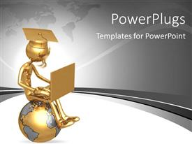 PowerPlugs: PowerPoint template with a person sitting on top of the globe after graduation