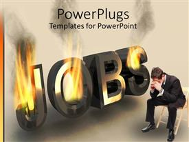 PowerPlugs: PowerPoint template with a person sitting worried with the word jobs