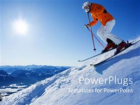 PowerPoint template displaying a person skiing  on a mountain with sunshine in the background