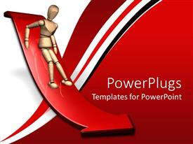 PowerPlugs: PowerPoint template with person sliding down red slope arrow, fear, red and white background