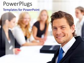 PowerPlugs: PowerPoint template with a person smiling along with his team