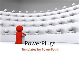 PowerPlugs: PowerPoint template with a person speaking to a number of students