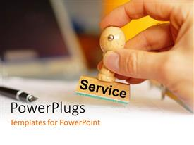 PowerPlugs: PowerPoint template with a person stamping on the paper with a wooden stamp