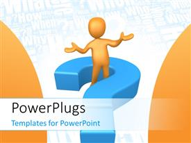PowerPlugs: PowerPoint template with person standing in the middle of a large question mark with questions in the background