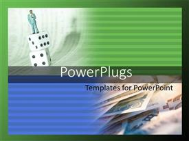PowerPlugs: PowerPoint template with a person standing on a number of dices