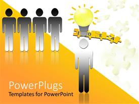 PowerPlugs: PowerPoint template with a person standing out because he has an idea