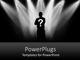 PowerPlugs: PowerPoint template with a person standing under lights with black background