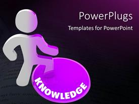PowerPlugs: PowerPoint template with person stands on Knowledge button and his color transforms to symbolize his evolution with black color