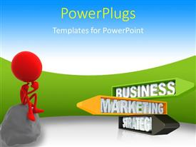 PowerPlugs: PowerPoint template with a person with a stone and greenish background