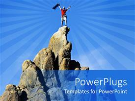PowerPlugs: PowerPoint template with a person successfully climbed a mountain and celebrating the moment