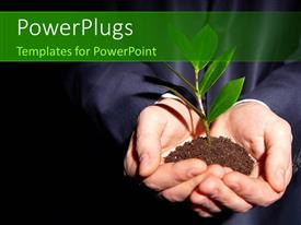PowerPlugs: PowerPoint template with person in suit with plant sprouting from Earth in hand