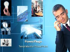 PowerPlugs: PowerPoint template with a person talking on a cell phone