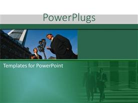 PowerPlugs: PowerPoint template with a person talking to the media with his own reflection in the bottom