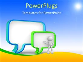 PowerPlugs: PowerPoint template with a person thinking with bluish background