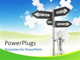 PowerPlugs: PowerPoint template with a person thinking of going one way or the other