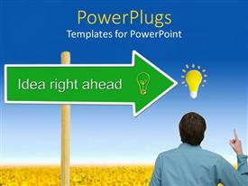 PowerPoint template displaying a person thinking of an idea