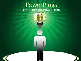 PowerPoint template displaying a person thinking of an idea with dollars in the background