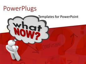 PowerPlugs: PowerPoint template with a person thinking about the next step with a question mark
