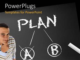 PowerPlugs: PowerPoint template with a person thinking of a plan with blackish background