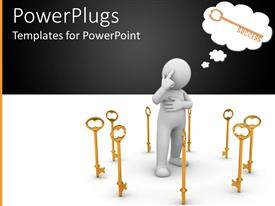 PowerPlugs: PowerPoint template with a person thinking about the right key from a collection of keys