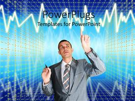 PowerPoint template displaying a person thinking while touching a graph