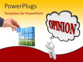 PowerPlugs: PowerPoint template with 3D man deep in thought with OPINION in speech bubble