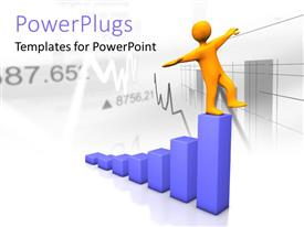 PowerPlugs: PowerPoint template with a person on top of the bar with a financial report in the background