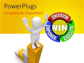 PowerPlugs: PowerPoint template with a person on top of the bar with yellowish background