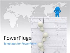 PowerPlugs: PowerPoint template with a person on top of the building with map in the background