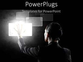 PowerPlugs: PowerPoint template with a person touching a screen with grayish background