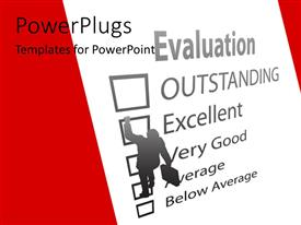 PowerPlugs: PowerPoint template with a person trying to achieve outstanding results