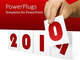 PowerPlugs: PowerPoint template with a person trying to change the calendar with reddish background