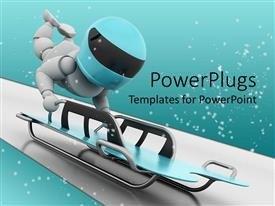 PowerPlugs: PowerPoint template with a person trying to compete in skeleton bobsleigh with full throtle